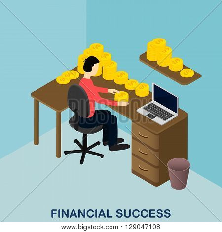 Financial success. Isometric gold. US dollars. The person considers income. Wealth and success. A lot of money on the table. Vector illustration.