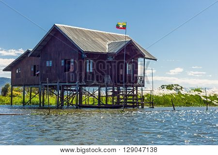 Myanmar Shan State a state house on the Inla Lake.