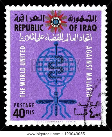 IRAQ - CIRCA 1962 : Cancelled postage stamp printed by Iraq, that shows Malaria Eradication Emblem.