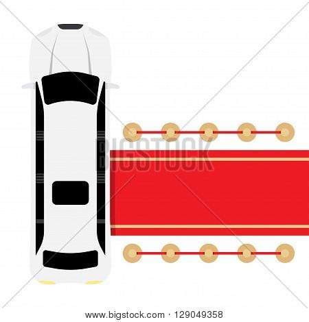 Posh white limousine top view parked near red carpet vector illustration