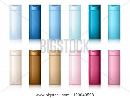 set of cosmetic products on a white background. Cosmetic package collection for shampoo in different colors. vector illustration.
