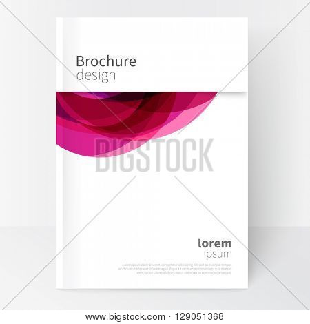Vector Abstract  Brochure, Annual Report, Flyer, Leaflet Cover Template. Geometric abstract background pink and purple circles intersecting. concept catalouge design. EPS 10