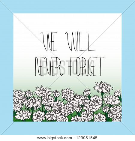 Memorial day card with Memorial day card with hand lettering and white carnation flowers. Text - Memorial Day. Frame for Memorial Day design.