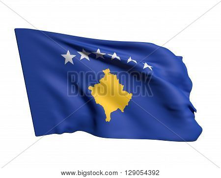 3d rendering of a close-up of a Kosovo flag waving on a white background poster