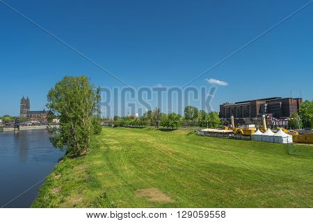 View On Magdeburg City Center And Downtown In Spring, Magdeburg, Germany