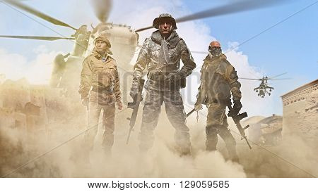 War conflict - Three special forces men holding a machine gun on the background of the Arab street