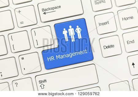 White Conceptual Keyboard - Hr Management (blue Key)