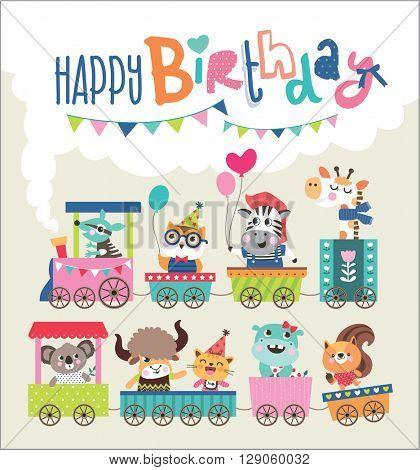 Birthday card with cute animals on train