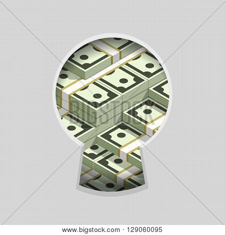 Stacks of money in keyhole color flat vector illustration, teaser spying through the key slit, very many money piles, hidden in secret wealth and millions dollars sign