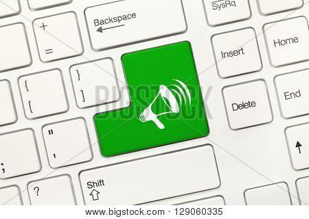 White Conceptual Keyboard - Green Key With Megaphone Symbol