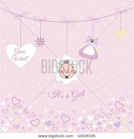 Baby girl arrival announcement card. Vector Illustration poster