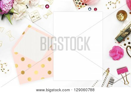 Header website or Hero website, Table view office items, white background mock up, woman desk. Polka gold pattern and blush