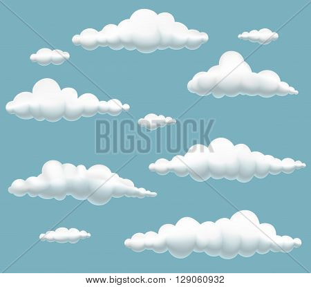vector illustration of collection cartoon clouds in the sky spherical volumetric clouds on blue background clouds set