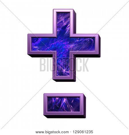 Hyphen, minus, plus marks from blue-purple fractal alphabet set isolated over white. 3D illustration.