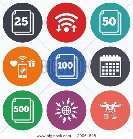 Wifi, mobile payments and drones icons. In pack sheets icons. Quantity per package symbols. 25, 50, 100 and 500 paper units in the pack signs. Calendar symbol.