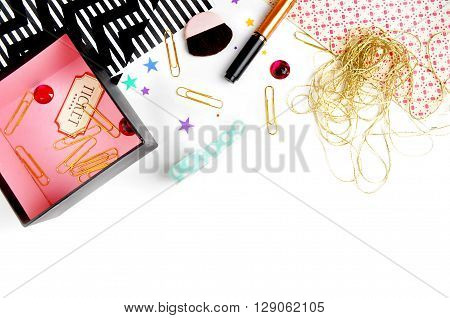 Style stock photography | Mockup product | Gold & Red design | stock photo | flat lay
