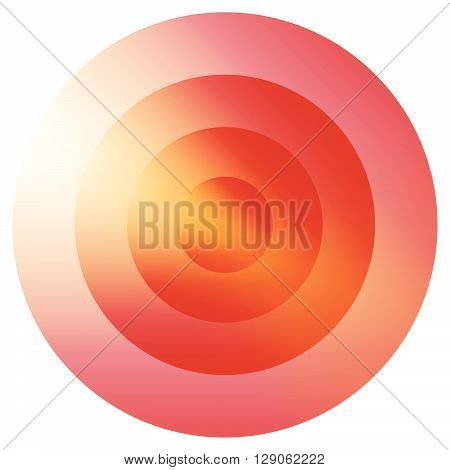 Glassy Colorful Radiating, Concentric Circles Element. Glowing Bright Colorful Icon, Shape On White