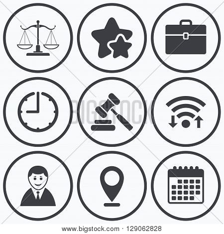 Clock, wifi and stars icons. Scales of Justice icon. Client or Lawyer symbol. Auction hammer sign. Law judge gavel. Court of law. Calendar symbol.