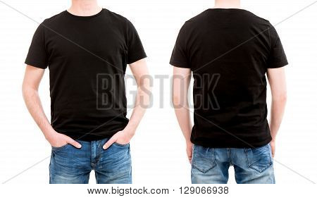 shirt black template mockup tshirt men blank - stock image