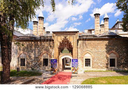 SARAJEVO BOSNIA AND HERZEGOVINA - SEPTEMBER 4 2009: Gazi Husrev-beg Madrasah (aka Kursumli Madrasah) is the oldest Islamic secondary school in the Balkans established in 1537 AD.