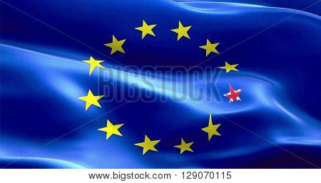 Brexit United Kingdom England Flag Star On European Flag