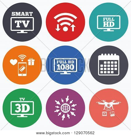 Wifi, mobile payments and drones icons. Smart TV mode icon. Widescreen symbol. Full hd 1080p resolution. 3D Television sign. Calendar symbol.