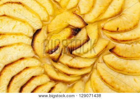 Sliced apple pie background