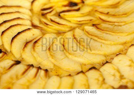 Sliced apple pie background