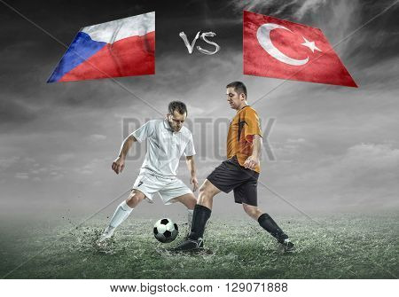 Football player on soccer field of stadium. Match between two national teams