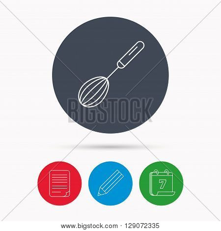 Whisk icon. Kitchen tool sign. Kitchenware whisking beater symbol. Calendar, pencil or edit and document file signs. Vector