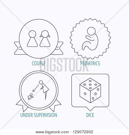 Couple, paediatrics and dice icons. Under supervision linear sign. Award medal, star label and speech bubble designs. Vector