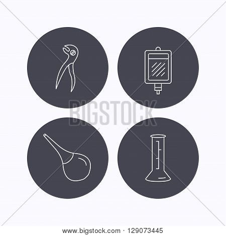 Beaker, blood and dental pliers icons. Clyster linear sign. Flat icons in circle buttons on white background. Vector