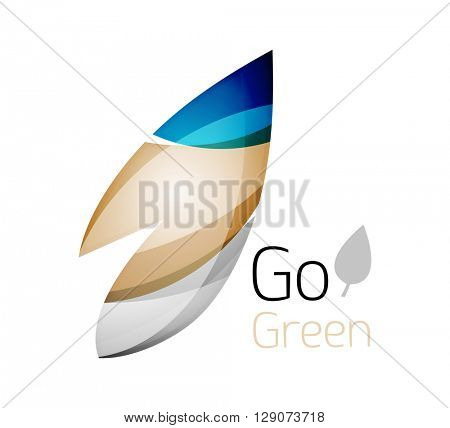 Abstract leaf icon. Eco nature geometric logo. Vector illustration