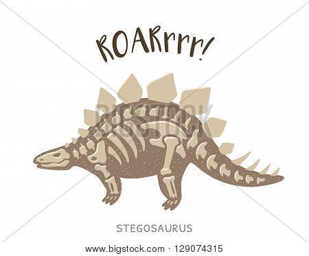 Cartoon card with a stegosaurus skeleton and text Roar. Fossil of a Stegosaurus dinosaur skeleton. Cute dinosaur on white background