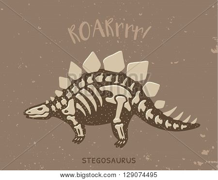 Cartoon card with a stegosaurus skeleton and text Roar. Fossil of a Stegosaurus dinosaur skeleton. Cute dinosaur on brown background