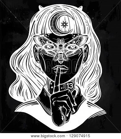 Hand drawn beautiful portrait of the witch girl with a butterfly mask and moon in her hair. Fantasy, spirituality, occultism, tattoo art, coloring books. Isolated vector illustration. Trendy print.