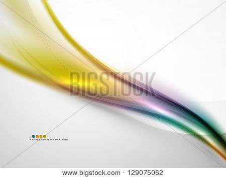 Smooth raibow color gradients in vector business wave template. Realistic detailed