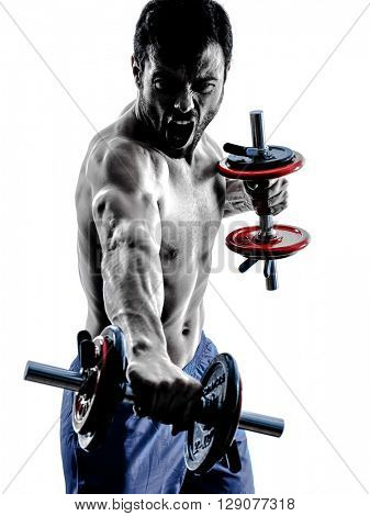 man fitness weights exercises silhouette