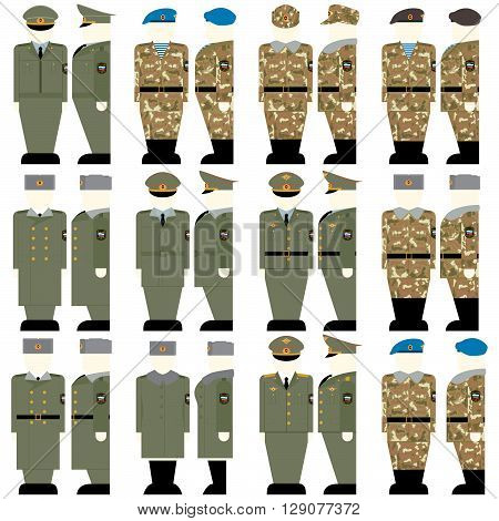 Uniforms and insignia of soldiers and officers of the Russian Federation. The illustration on a white background.