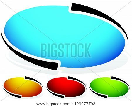Oval, Ellipse Badge, Button Background. Set Of 4 Colors. Generic Design Elements. White Version. Til