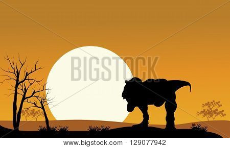 tyrannosaurus with sun scenery at the morning