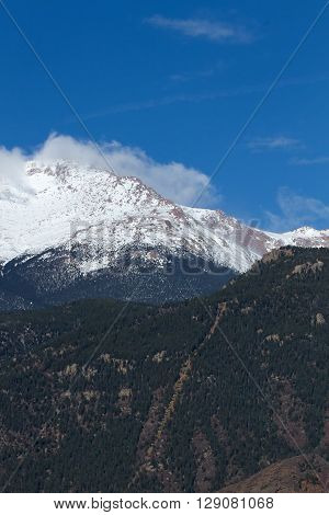 The Manitou Incline with Pikes Peak in the background