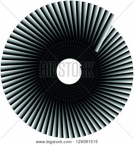 Spiral Shape Made Of Overlapping Rectangles. Abstract Monochrome Volute, Spiral Shape