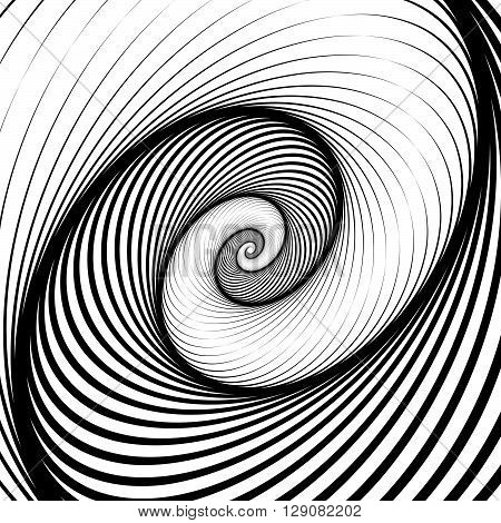 Spiral, Volute Background - Rotating Radiating, Concentric Ellipses, Ovals