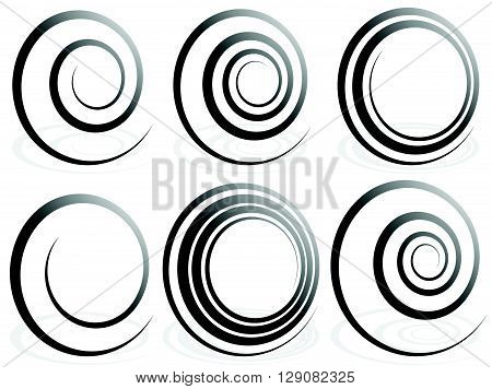 Spiral Shapes. Set Of Volute, Snail Decorative Elements.