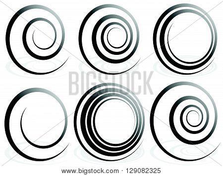 Spiral Shapes. Set Of Volute, Snail Decorative Elements.