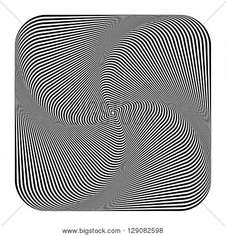 Abstract Spirally, Inward Rotating Square. Vortex, Spiral Geometric Pattern Made Of Squares