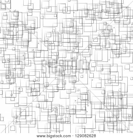 Random, Scattered Shapes Geometric Monochrome Illustration / Pattern.