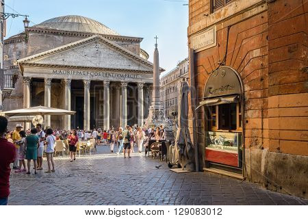 Rome Italy - August 22 2015: people walking in Pantheon street the way to the Pantheon church