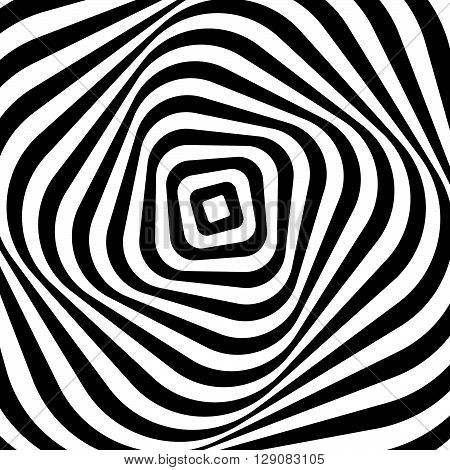 Swirling, Spiraling Monochrome Geometric Element. Abstract Graphic.